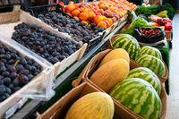 Assortment of fresh fruits at market