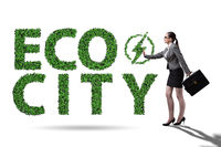 Eco city in ecology concept with businesswoman