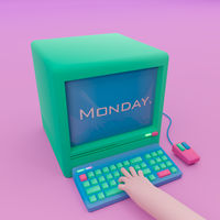 3D illustration. Computer with keyboard, mouse and hand on keys.