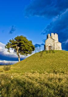 Idyllic chapel on the green hill
