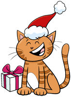 cartoon cat or kitten with present on Christmas time