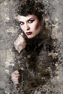 Portrait of brunette with leather jacket over rusty wall