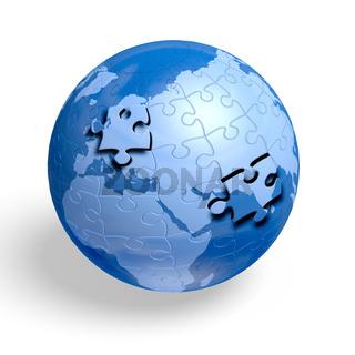 Earth jigsaw puzzle globe