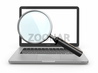Search. Laptop and loupe in white background. 3d
