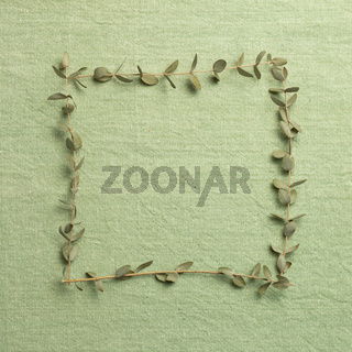 Eucalyptus leaves frame on green fabric texture background. top view, copy space