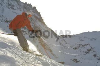 skiing at winter season