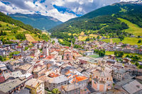Town of Bormio in Dolomites Alps aerial view