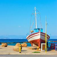 Old fishing boat in Aegina Island in Greece