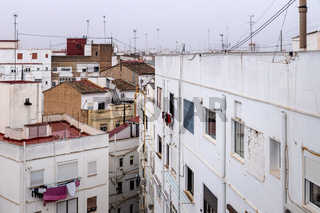Residential Spanish neighborhood overlooking the rooftops in Valencia, Spain