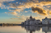 Budapest Hungary, sunrise city skyline at Hungarian Parliament and Danube River