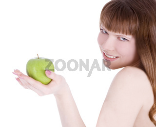 picture of topless woman with green apple