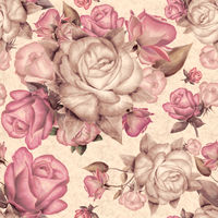Seamless pattern with pink and brown roses and leaves on background.