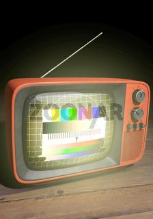 Retro TV mit Testbild, Hochformat