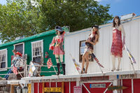 SELIGMAN, ARIZONA, USA - JULY 31 : Mannequins on a Roof in Seligman, Arizona,  USA on July 31, 2011
