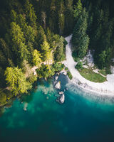 Aerial shot of Lago di Braies (Pragser Wildsee lake), Dolomites, Italy