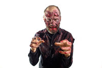 Zombie male makeup for halloween concept. Blood on skin face