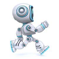 Cute blue robot running 3D