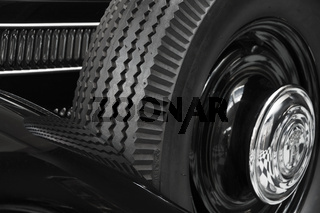 Black oldtimer with spare wheel