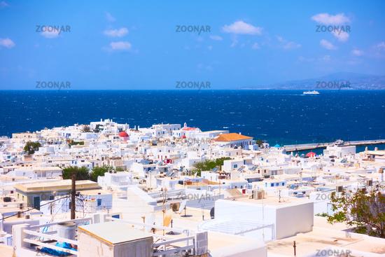 Panorama of Mykonos (Chora) town