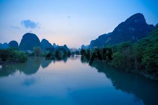 yangshuo at dusk in guilin