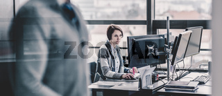 Personal assistant working in corporate office.