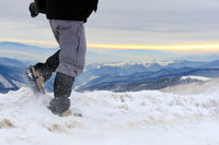 Men hiking in mountains, adventure and exercising