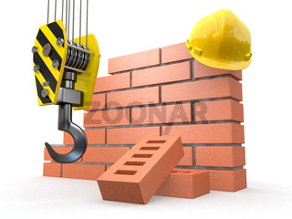 Under construction. Brick wall