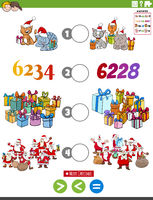 greater less or equal cartoon task with Christmas characters