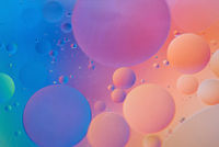 Orange and blue abstract background picture made with oil, water and soap