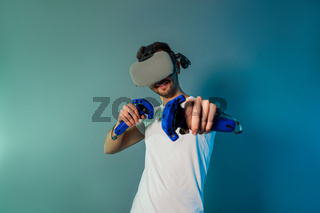 Couple using a gaming gadget for virtual reality