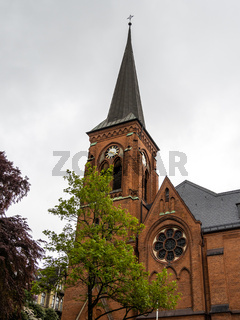 Landmark of the famous St. Mary church in Flensburg Schleswig Holstein Germany