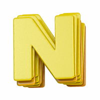 Yellow font Letter N 3D