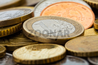 Euro coins closeup