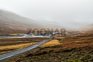 On the road to Mjoifjordur, Iceland