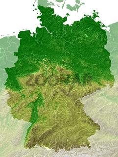 Deutschland - Topografische relief karte + grenzen