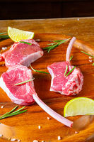 Raw Fresh Lamb Chops Wooden Cutting Board