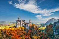 Fussen Germany, Neuschwanstein Castle with autumn foliage season