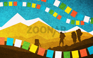 Mountains and Praying Flags. Silhouettes of Mountaineers.