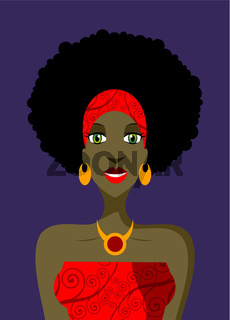 Afro woman with green eyes illustration