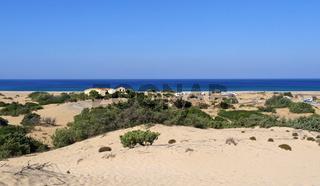 der Strand und die Dünen von Piscinas