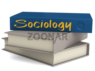Hard cover blue books with Sociology word