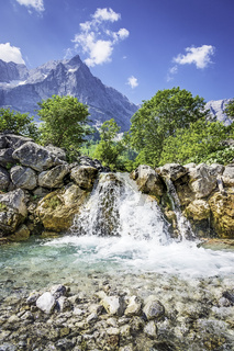 Waterfall and rocks in the Austrian Alps