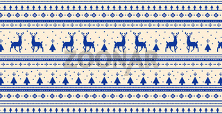 Christmas light panoramic background with drawings of deer and patterns of the holiday - Vector