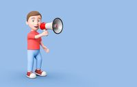 Young Kid 3D Cartoon Character Holding a Megaphone on Blue with Copy Space