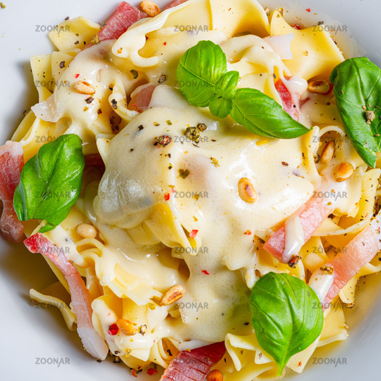 Tagliatelle with gorgonzola masarpone sauce and ham.