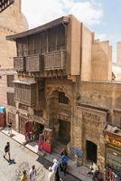 Facade of Ayyubid era Mosque and School of Sultan Al Kamel, Muizz Street, Cairo, Egypt