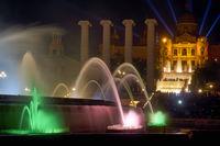 Barcelona. Catalonia. Spain. The Magic Fountain of Montjuic is a fountain located at the head of Avenida Maria Cristina in the Montjuïc neighborhood