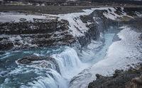 Majestic and dark Gullfoss waterfall in Iceland