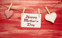 Mothers Day card with two fabric heart shapes