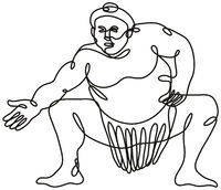 Sumo Wrestler or Rikishi Fighting Stance Front View Continuous Line Drawing